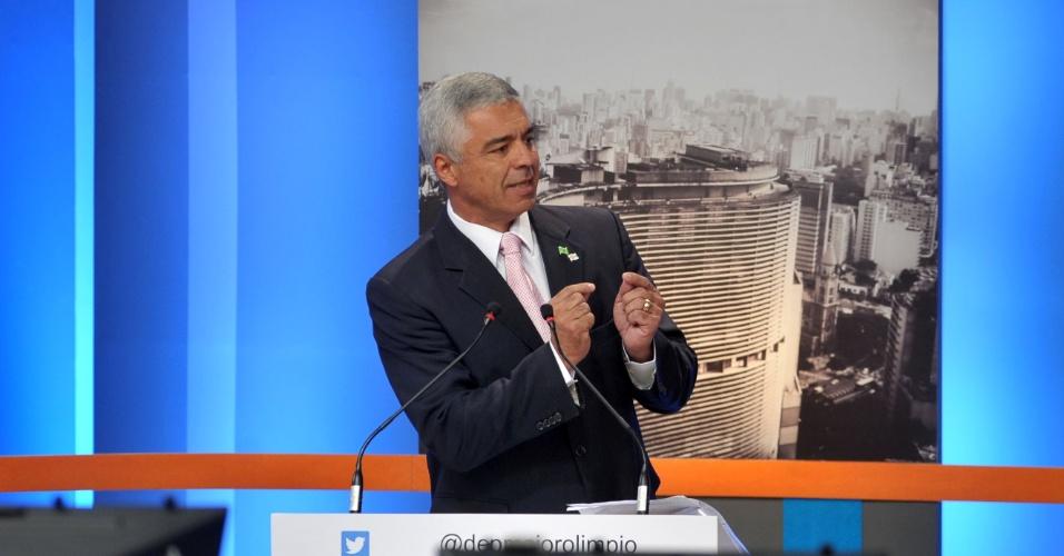 18.set.2016 - Major Olímpio (SD) participa de debate com candidatos a prefeito em São Paulo promovido pela TV Gazeta, Estadão e Twitter