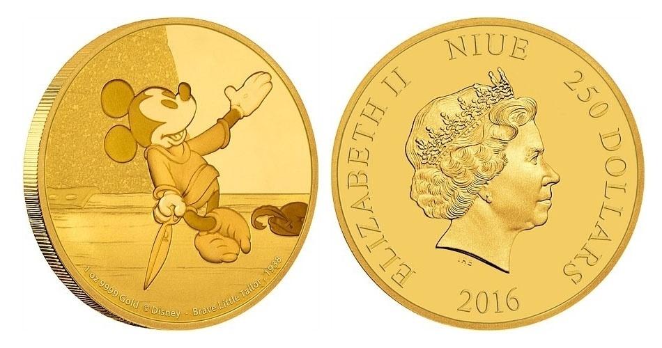 Moeda de 250 dólares de Niue, ilha do Pacífico que é um território associado da Nova Zelândia, estampada com o Mickey; a edição faz parte de uma série especial com a evolução do personagem mais famoso da Disney