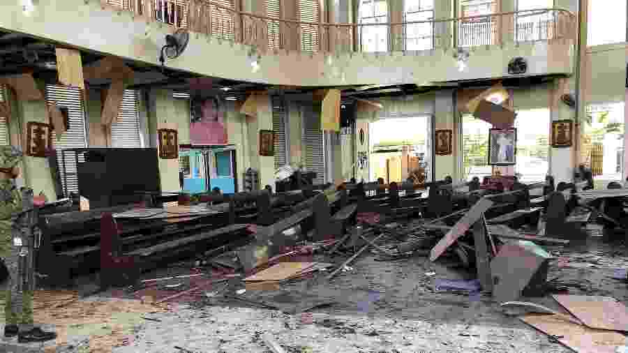 27.jan.2019 - Catedral da cidade de Jolo, no sudeste da Filipinas, onde ocorreram duas explosões neste domingo  - AFP Photo