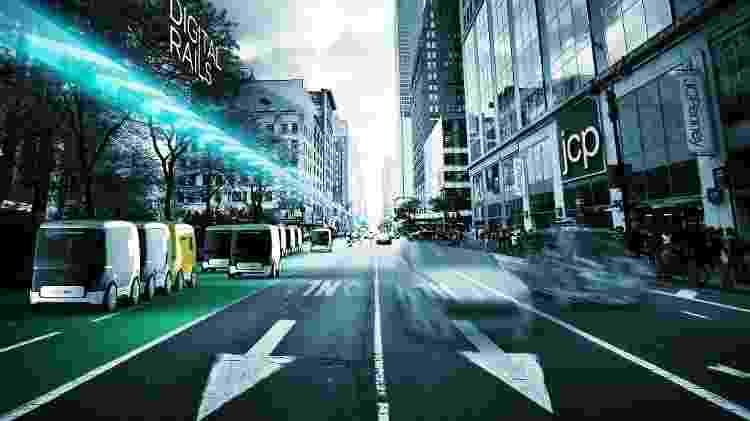 Ideia é criar faixas exclusivas e comboios de carros sem motorista, como neste conceito de Nova York - Divulgação