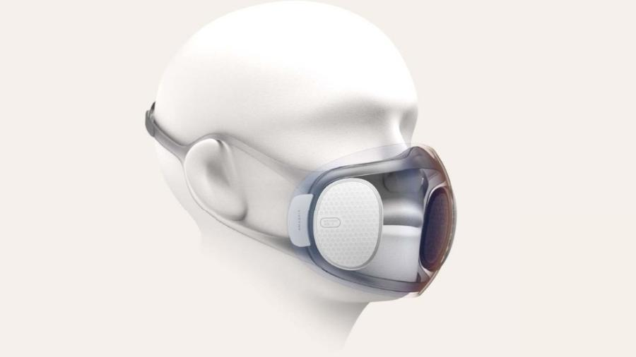 Protótipo da máscara com auto-desinfecção em desenvolvimento pela Huami, subsidiária da Xiaomi - Reprodução/XDA Developers