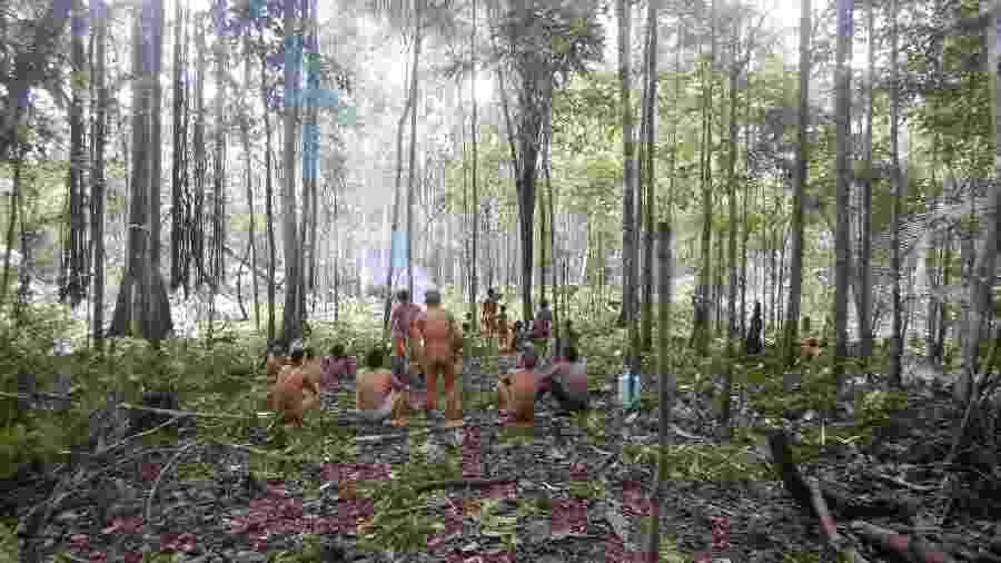 Indígenas da etnia korubo contatados em operação da Funai no primeiro semestre de 2019 no Vale do Javari, no Amazonas - Ascom/Funai