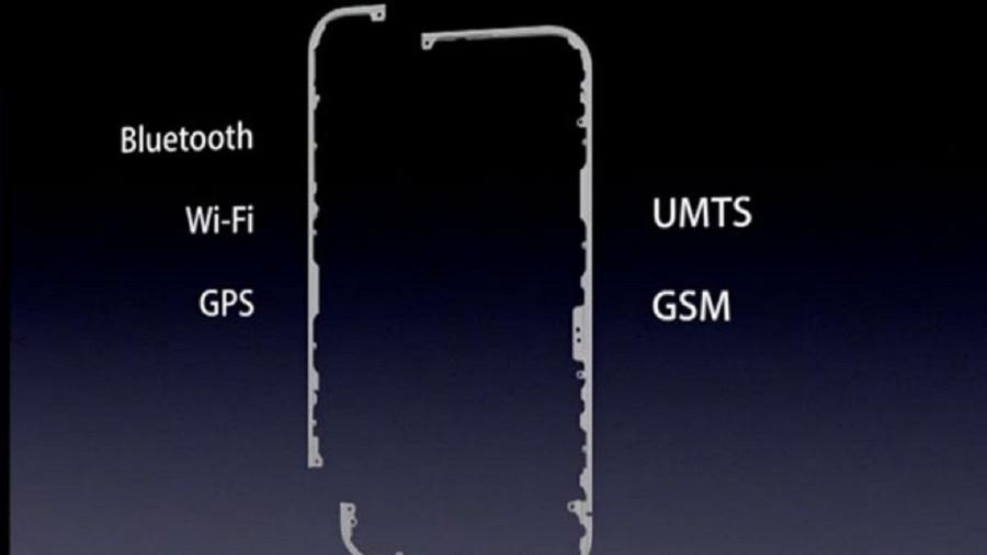 Localização das antenas no iPhone 4 - Apple