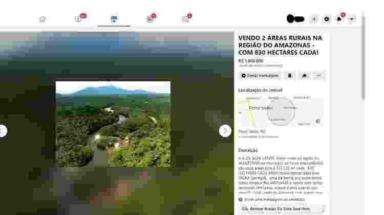 Anúncio no Facebook oferece lotes dentro da Floresta Nacional do Aripuanã - Reprodução - Reprodução