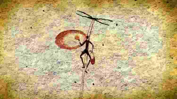 Pintura rupestre espanhola em que se acredita mostrar uma pessoa escalando um penhasco com cordas para coletar mel de colmeias de abelhas selvagens, usando a fumaça de uma brasa para deixar as abelhas mais dóceis - Science Photo Library - Science Photo Library