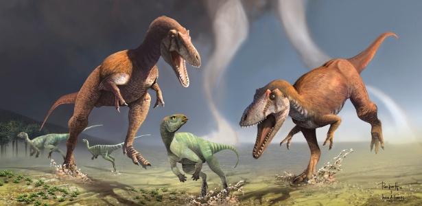 Na foto, dois dinossauros carnívoros recém-descobertos na Argentina perseguem um herbívoro