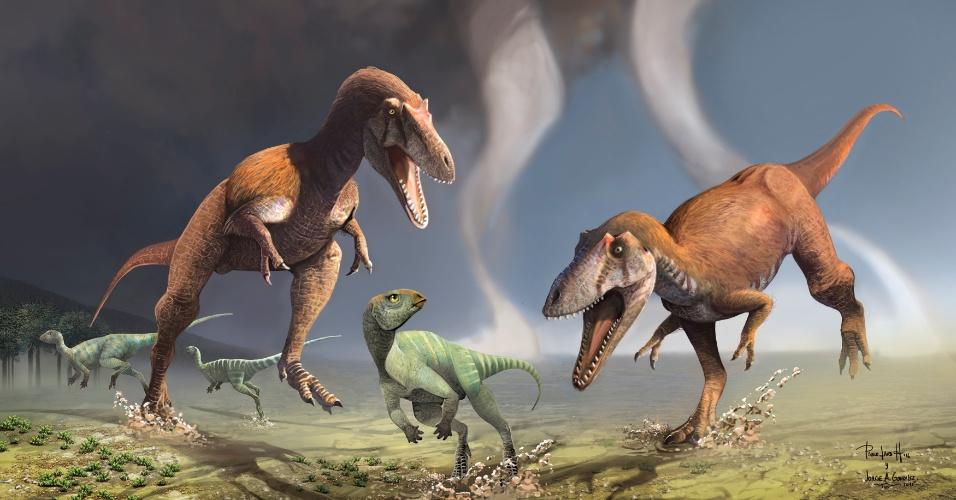 14.jul.2016 - Na foto, dois dinossauros carnívoros recém-descobertos perseguem um herbívoro