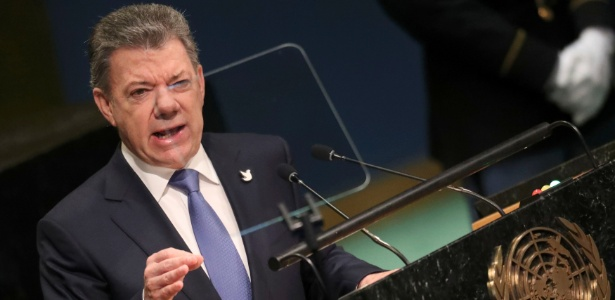 O presidente da Colômbia, Juan Manuel Santos, discursa na Assembleia-Geral da ONU