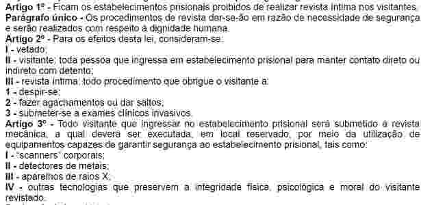 Detalhe da lei 15.552, que proíbe a revista íntima em presídios paulistas - Reprodução/Assembleia Legislativa de São Paulo