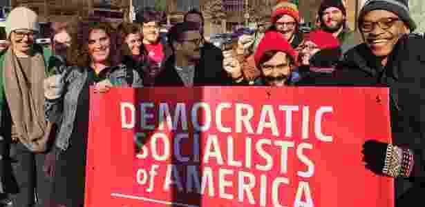 Jovens militantes do grupo norte-americano de esquerda Socialistas Democráticos da América - Reprodução/Facebook Democratic Socialists of America