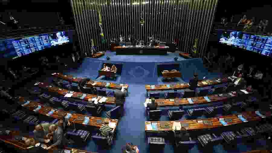 20.fev.2018 - Vista do plenário do Senado, em Brasília, durante sessão de votação do decreto de intervenção do governo federal na segurança pública do Rio de Janeiro - ANDRÉ DUSEK/ESTADÃO CONTEÚDO