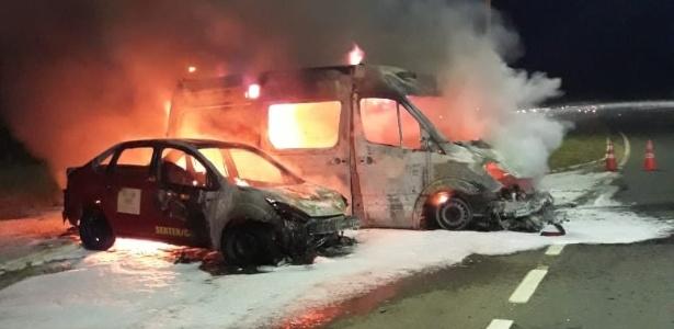 Dois veículos da base do Corpo de Bombeiros de Mossoró (RN) também foram incendiados
