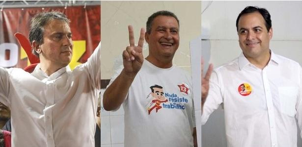 Eleitos governadores no 1º turno: Camilo Santana (PT), no Ceará; Rui Costa (PT), na Bahia; e Paulo Câmara (PSB), em Pernambuco