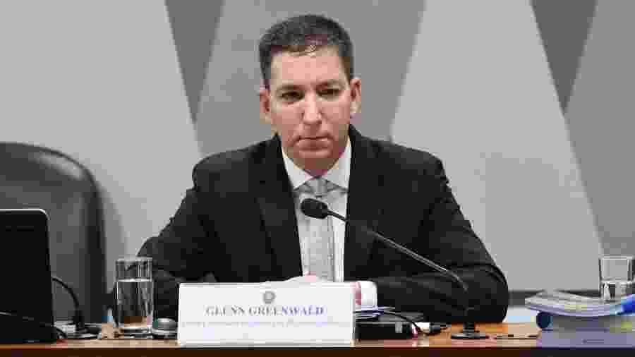 11.jul.2019 - O jornalista Gleen Greenwald em audiência na Comissão de Constituição e Justiça no Senado - Edilson Rodrigues/Agência Senado