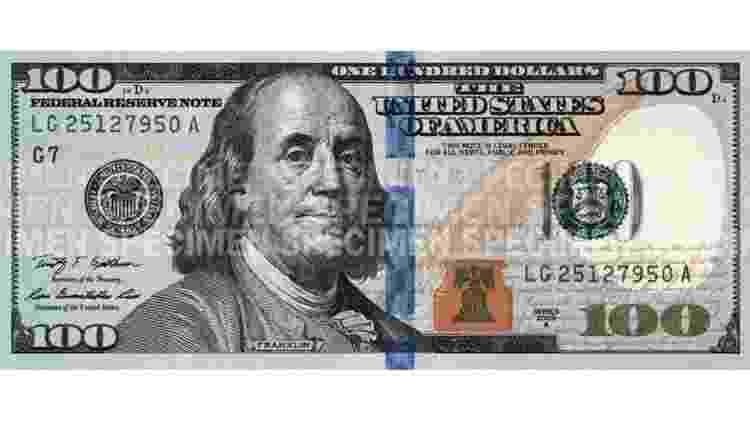 Nota de R$ 100 atual, em circulação desde 2013 - Reprodução/U.S. Bureau of Engraving and Printing