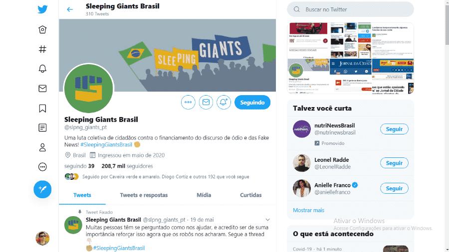 Página principal do perfil do Twitter Sleeping Giants Brasil - Reprodução/Twitter @slpng_giants_pt