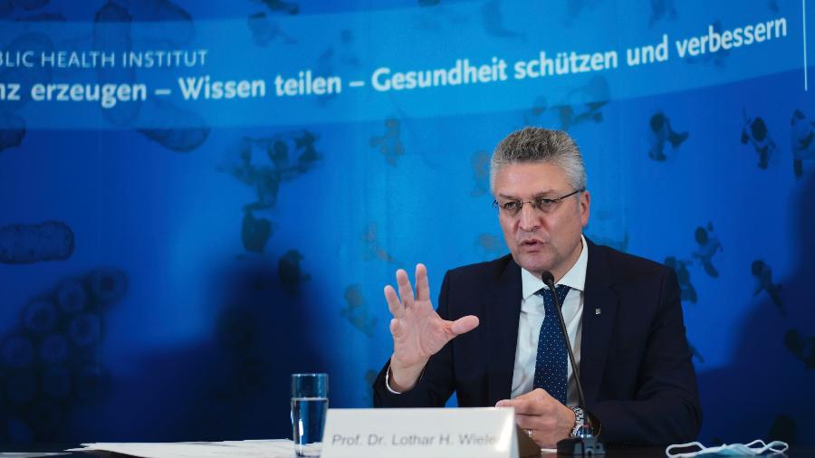 22.out.2020 -  Lothar Wieler, presidente do instituto alemão de vigilância epidemiológica Robert Koch - Markus Schreiber / POOL / AFP