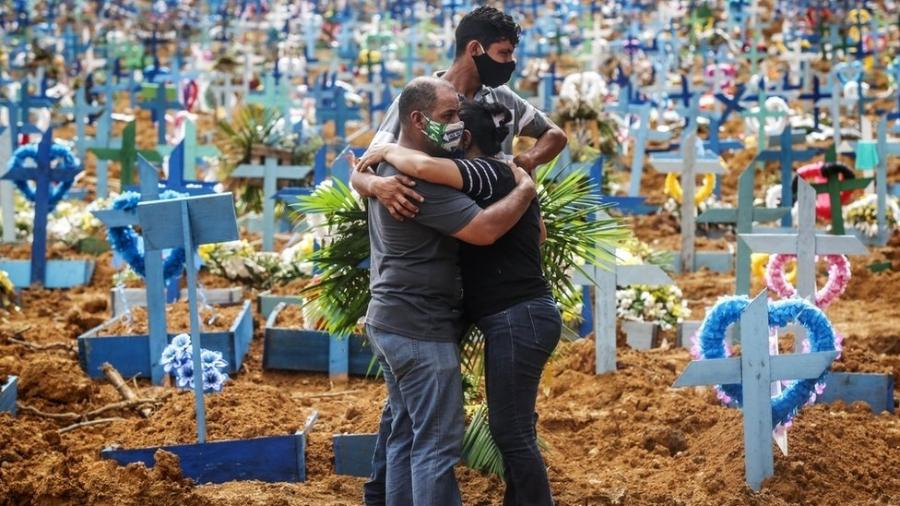 Parentes de vítimas em cemitério em Manaus - BBC