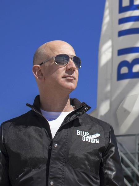 Jeff Bezos é fundador da Blue Origin, uma empresa espacial que concorre com a SpaceX, do também bilionário Elon Musk - Divulgação