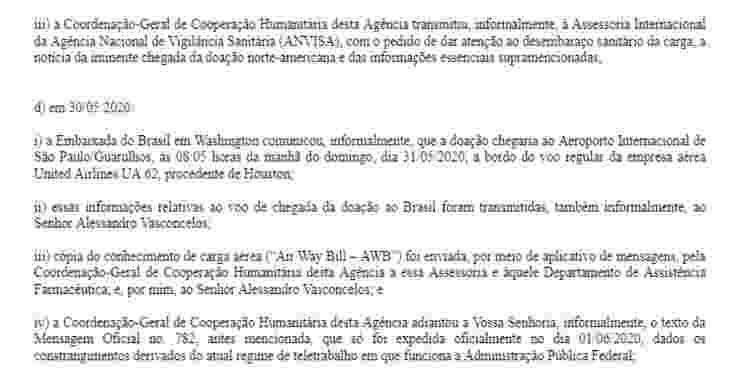 Trecho de e-mail da Agência Brasileira de Cooperação ao Ministério da Saúde  - Reprodução - Reprodução