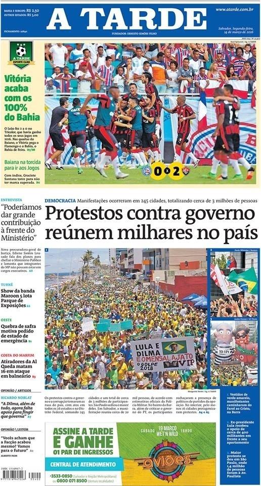 BA: Capa do jornal A Tarde de 14 de março de 2016