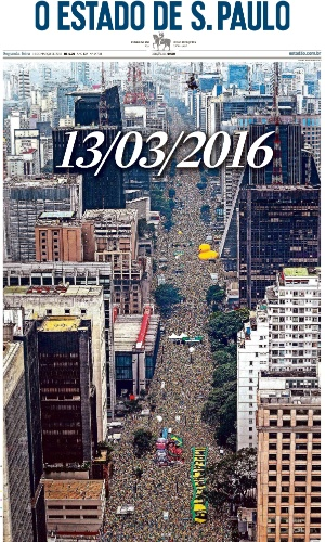 SP: Capa do jornal O Estado de S. Paulo de 14 de março de 2016