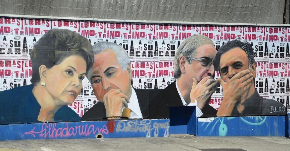 18.abr.2016 - Cartaz na avenida Paulista mostra a presidente da República, Dilma Rousseff, junto ao vice, Michel Temer, e o presidente da Câmara dos Deputados, Eduardo Cunha, junto ao senador Aécio Neves
