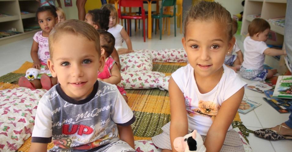 Arthur e Beatriz -Seis duplas de gêmeos estão na mesma creche em Florianópolis