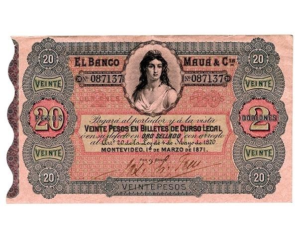 O Banco Mauá emitiu cédulas para circular no Brasil e nos países onde a instituição estava presente, como o Uruguai.