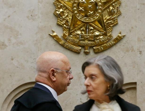 Ministra Cármen Lúcia e o ministro Teori Zavascki em sessão do STF