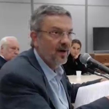 20.abr.2018 - Antonio Palocci depõe ao juiz Sergio Moro em Curitiba - Reprodução