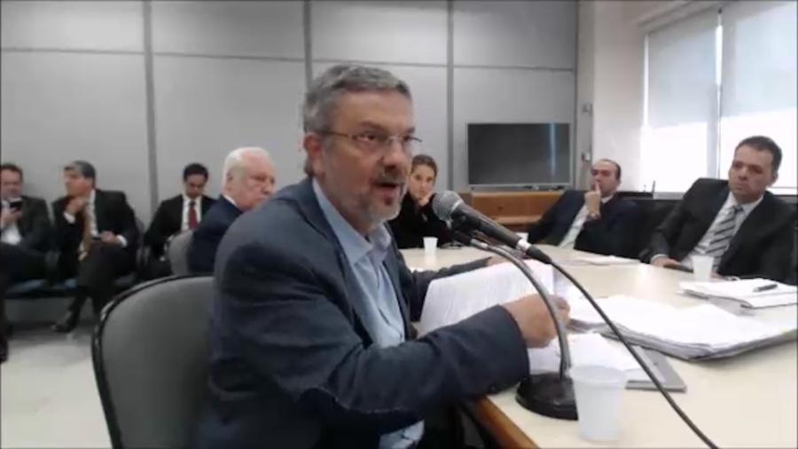 Antonio Palocci depõe ao juiz Sergio Moro em Curitiba em 2017 - Reprodução