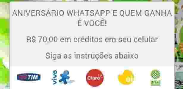 WhatsApp - Golpe de Aniversário - Reprodução - Reprodução