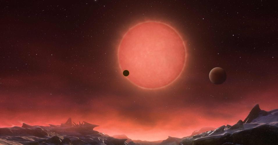 Representação artística de como os pesquisadores imaginam ser um dos planetas que orbitam a pequena estrela Trappist-1, localizada em nossa galáxia, a 40 anos-luz da Terra