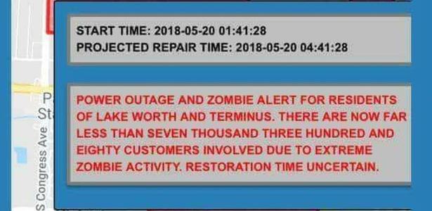 Porta-voz da cidade se desculpou pela mensagem e disse que Lake Worth não registra nenhuma atividade zumbi - Reprodução/Facebook via BBC