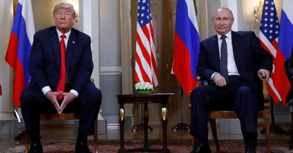 16.jul.2018 - Presidente dos EUA, Donald Trump, encontra-se com o presidente da Rússia, Vladimir Putin, em Helsinque, Finlândia