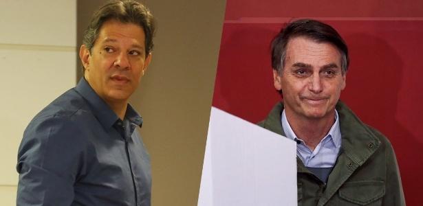 Haddad (PT) e Bolsonaro (PSL) durante votação no segundo turno