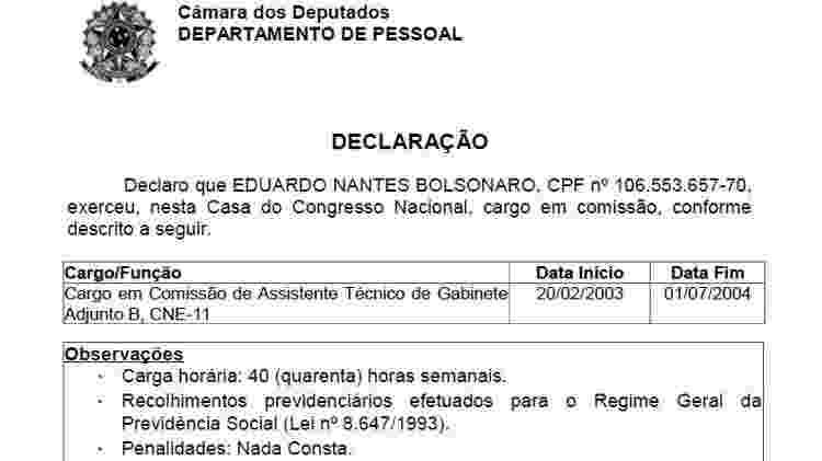 Registro oficial do Departamento Pessoal do cargo que Eduardo exerceu na Câmara - Reprodução