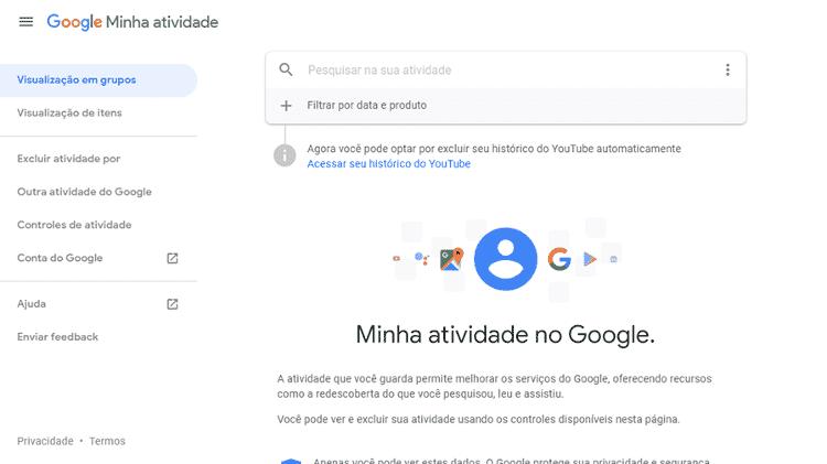 Autodestruição de histórico do Google 1 - Reprodução - Reprodução