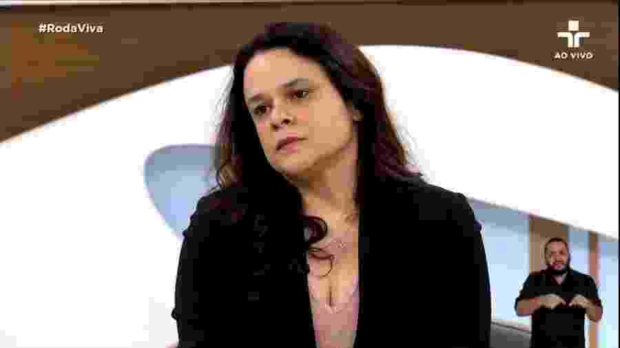 4.nov.2019 - Janaina Paschoal, deputada estadual, durante participação no Roda Viva - Reprodução/TV Cultura
