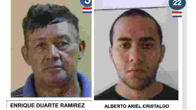 Enrique Duarte Ramírez e Alberto Valiente foram expostos como fugitivos de prisão no Paraguai de forma errada - Reprodução