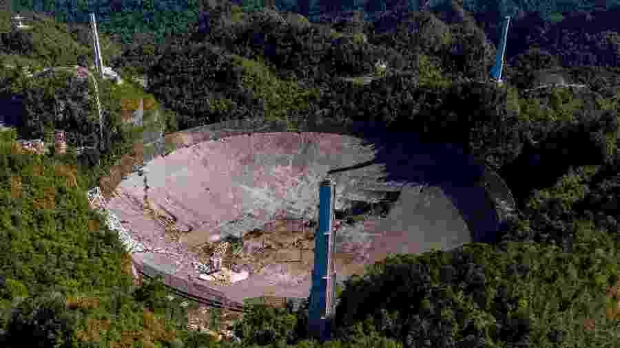 Desabamento de plataforma do observatório de Arecibo - Ricardo Arduengo/AFP