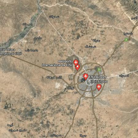 O aeroporto de Erbil, capital do Curdistão iraquiano, tem posicionados soldados americanos - Reprodução/Google Maps