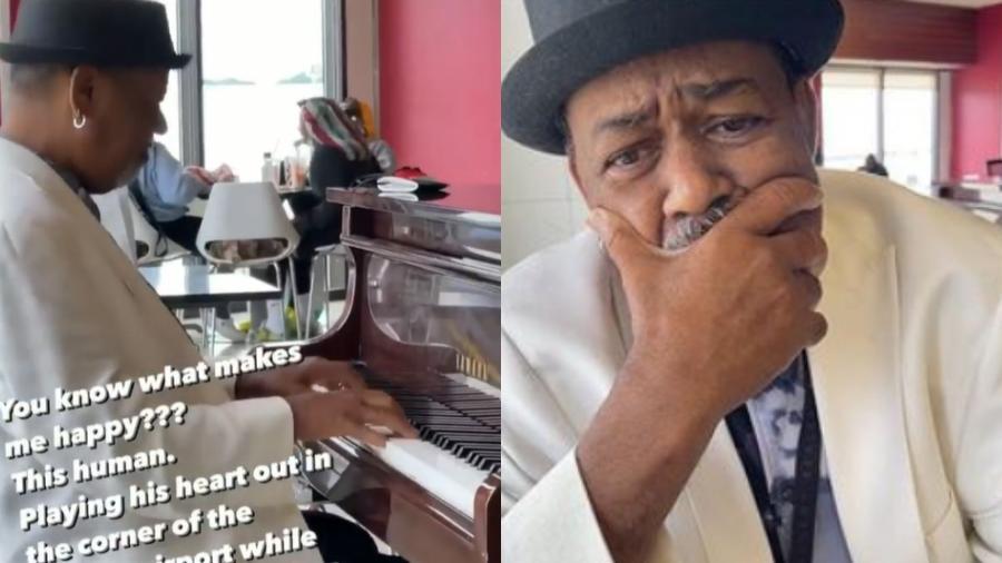 O pianista Tonee Valentine sofre de uma doença renal e recebeu ajuda de doadores após viralizar em vídeo - Reprodução/@loswhit