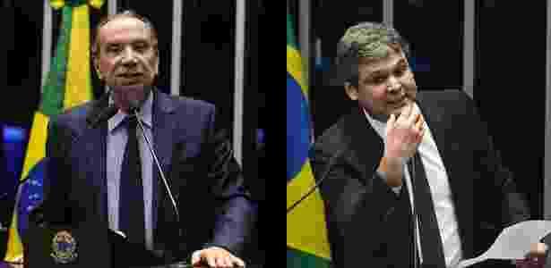 O tucano Aloysio Nunes e o petista Lindbergh Farias (à direita) - Fotomontagem: Marcos Oliveira/Agência Senado e Renato Costa/Folhapress