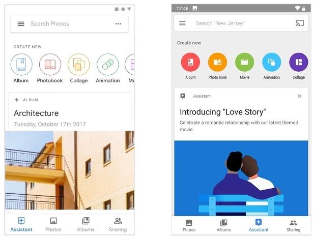 Novo visual e antiga aparência do app do Google Fotos