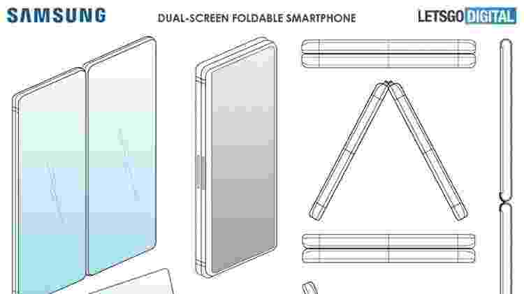 Patente dá mais detalhes do novo celular dobrável da Samsung - Reprodução - Reprodução