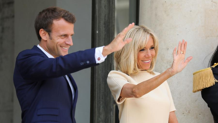 Presidente da França, Emmanuel Macron, e a esposa Brigitte Macron - Ludovic Marin/ AFP
