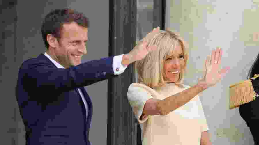 Presidente da França, Emmanuel Macron, e a primeira-dama Brigitte Macron - Ludovic Marin/ AFP