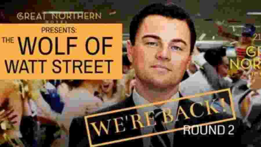 Evento do Great Northern Hotel fazia referência ao filme O Lobo de Wall Street - Reprodução/Facebook